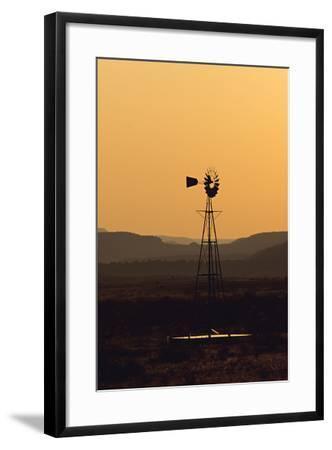 A Desert Windmill at Sunset-Wesley Hitt-Framed Photographic Print
