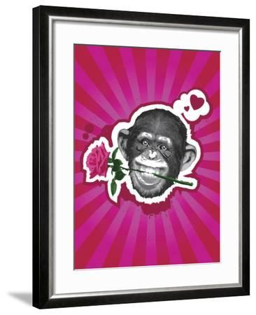 Chimpanzee with Rose in Mouth-New Vision Technologies Inc-Framed Photographic Print