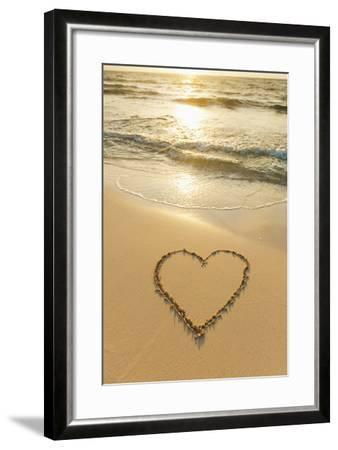 Mexico, Yucatan, Heart Drawn in Sand on Beach-Tetra Images-Framed Photographic Print