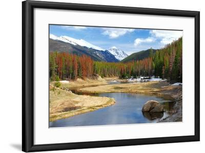 Winding Colorado River with Mountains and Pines-Terry Kruse-Framed Photographic Print