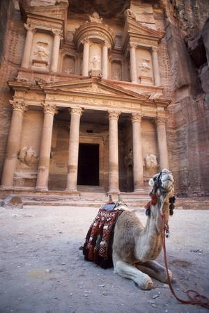 Camel Sitting at the Entrance to the Iconic Ruins at Petra, Jordan-Cultura Travel/Philip Lee Harvey-Framed Photographic Print