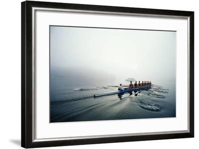 Rowing Team on Lake in Early Morning Fog-Nick Wilson-Framed Photographic Print
