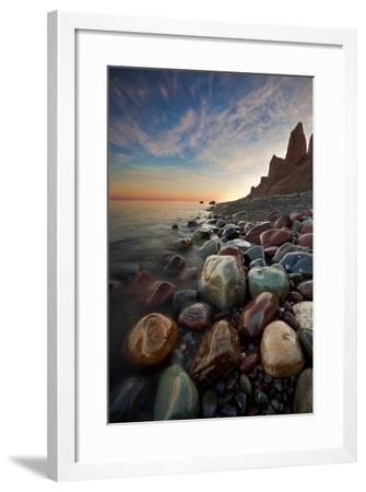 Sunrise at Chimney Bluffs-David Copley-Framed Photographic Print