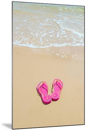 Flip Flops on a Sandy Beach-Kathy Collins-Mounted Photographic Print