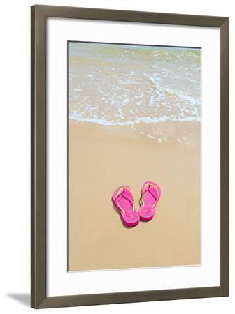 Flip Flops on a Sandy Beach-Kathy Collins-Framed Photographic Print