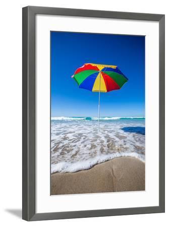 Umbrella at the Beach-John White Photos-Framed Photographic Print