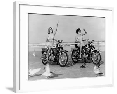 Beach Bikers-Fox Photos-Framed Photographic Print