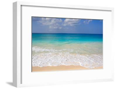 Blue Ocean and White Water Crashing on the Sand.-Alberto Guglielmi-Framed Photographic Print