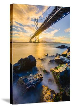 Warm Sunset Bay View San Francisco, Under Bay Bridge-Vincent James-Stretched Canvas Print