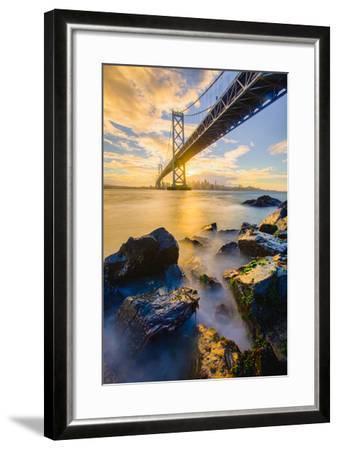 Warm Sunset Bay View San Francisco, Under Bay Bridge-Vincent James-Framed Photographic Print