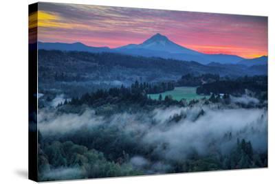 Light Fog at Sunrise from Jonsrud Point, Mount Hood Oregon-Vincent James-Stretched Canvas Print