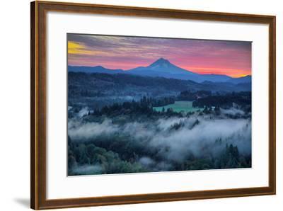Light Fog at Sunrise from Jonsrud Point, Mount Hood Oregon-Vincent James-Framed Photographic Print