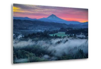 Light Fog at Sunrise from Jonsrud Point, Mount Hood Oregon-Vincent James-Metal Print
