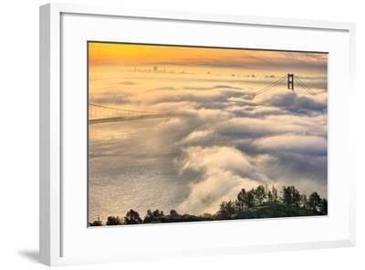 Rolling In, Sunshine and Fog at Golden Gate Bridge, San Francisco Bay Area-Vincent James-Framed Photographic Print