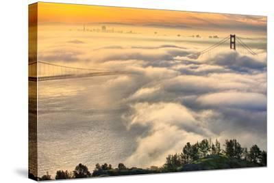 Rolling In, Sunshine and Fog at Golden Gate Bridge, San Francisco Bay Area-Vincent James-Stretched Canvas Print