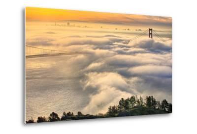 Rolling In, Sunshine and Fog at Golden Gate Bridge, San Francisco Bay Area-Vincent James-Metal Print