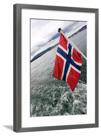 Norwegian Flag on a Boat-Felipe Rodríguez-Framed Photographic Print