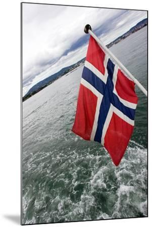Norwegian Flag on a Boat-Felipe Rodríguez-Mounted Photographic Print