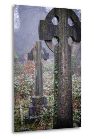 Graveyard in England in Winter-David Baker-Metal Print