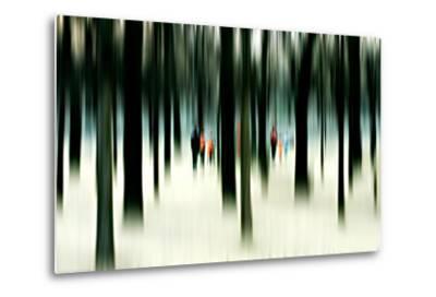 Silhouettes of People Between Trees-Bastian Kienitz-Metal Print
