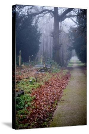 Graveyard in England in Winter-David Baker-Stretched Canvas Print