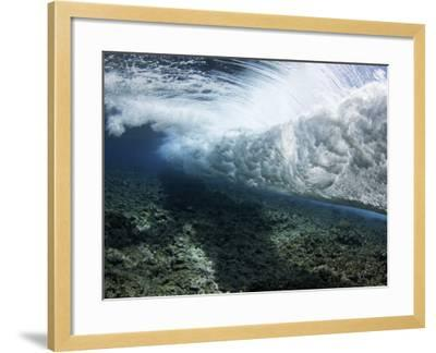 Underwater View of a Wave Crashing over a Coral Reef, Yap, Micronesia-David Fleetham-Framed Photographic Print