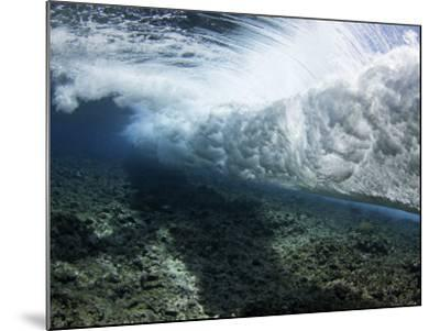 Underwater View of a Wave Crashing over a Coral Reef, Yap, Micronesia-David Fleetham-Mounted Photographic Print