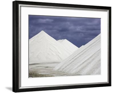 Mountains of Salt at the Salt Flats of Pekelmeer, Bonaire, Caribbean-David Fleetham-Framed Photographic Print