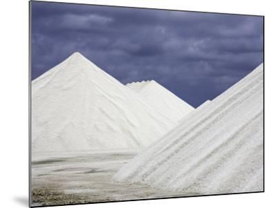 Mountains of Salt at the Salt Flats of Pekelmeer, Bonaire, Caribbean-David Fleetham-Mounted Photographic Print