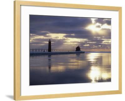Grand Haven Lighthouse on Lake Michigan at Sunset, Grand Haven, Michigan, USA-Adam Jones-Framed Photographic Print