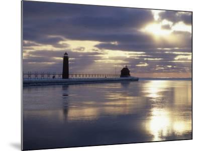 Grand Haven Lighthouse on Lake Michigan at Sunset, Grand Haven, Michigan, USA-Adam Jones-Mounted Photographic Print