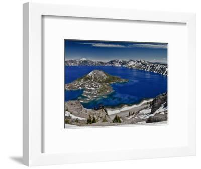 Crater Lake and Wizard Island, Looking East Toward Mount Scott on Far Side-Ellen Bishop-Framed Photographic Print