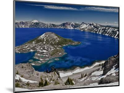 Crater Lake and Wizard Island, Looking East Toward Mount Scott on Far Side-Ellen Bishop-Mounted Photographic Print