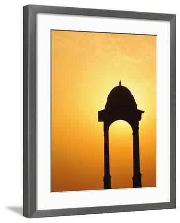 Tower Near the India Gate Silhouetted at Sunset, New Delhi, India-Adam Jones-Framed Photographic Print