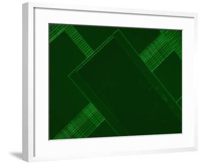 Micrograph of a Computer Microprocessor, LM X200, Epifluorecence, UV Illumination-Robert Markus-Framed Photographic Print