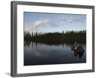 Two Undergraduate Students Use a Van Dorn Sampler to Collect Water Samples-Chris Linder-Framed Photographic Print