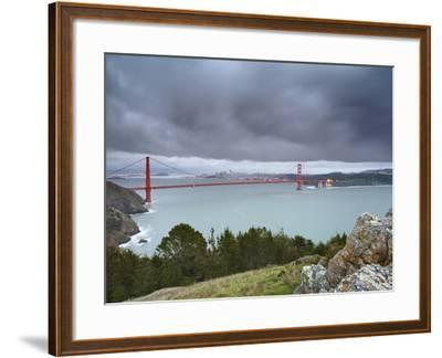 A Large Storm Sweeping into San Francisco Bay at Sunset, with the Golden Gate Bridge-Patrick Smith-Framed Photographic Print