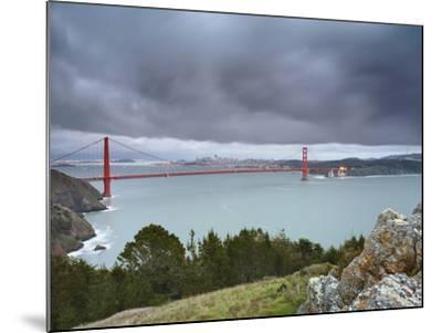A Large Storm Sweeping into San Francisco Bay at Sunset, with the Golden Gate Bridge-Patrick Smith-Mounted Photographic Print
