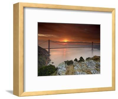 Golden Gate Bridge at Sunset under Foggy and Cloudy Skies, San Francisco Bay, California, USA-Patrick Smith-Framed Photographic Print