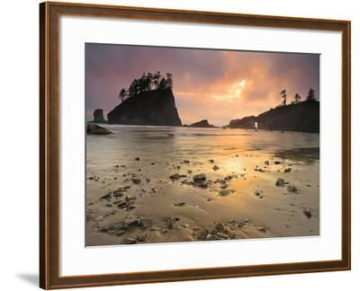 Sunset Light Through Breaks in the Clouds on Second Beach, Olympic National Park, Washington, USA-Geoffrey Schmid-Framed Photographic Print