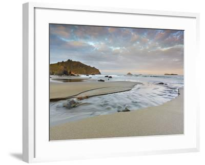 Small Stream Flowing Back into the Ocean over a Sandy Beach at Low Tide Near Eureka-Patrick Smith-Framed Photographic Print
