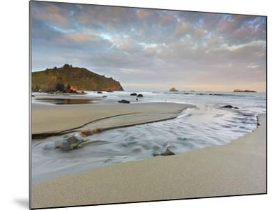 Small Stream Flowing Back into the Ocean over a Sandy Beach at Low Tide Near Eureka-Patrick Smith-Mounted Photographic Print