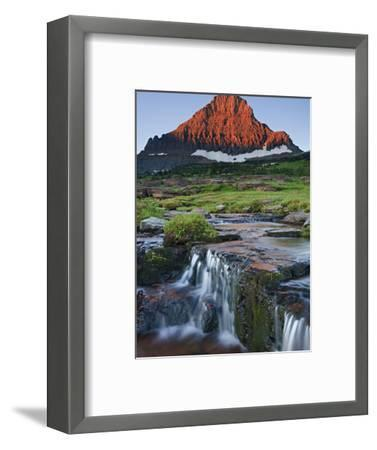 Mount Reynolds in Early Morning Light and a Seasonal Waterfall, Glacier National Park, Montana, USA-Geoffrey Schmid-Framed Photographic Print