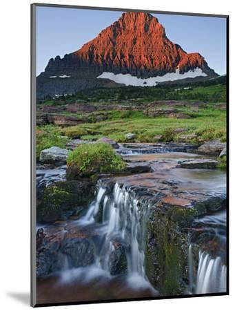 Mount Reynolds in Early Morning Light and a Seasonal Waterfall, Glacier National Park, Montana, USA-Geoffrey Schmid-Mounted Photographic Print