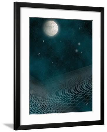 Space Background with the Moon and Stars-Carol & Mike Werner-Framed Photographic Print