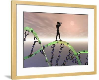 Biomedical Illustration of a Male Human Likeness Standing on a DNA Strand Peering into the Future-Carol & Mike Werner-Framed Photographic Print