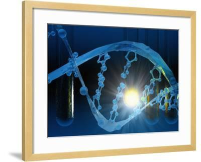 Biomedical Illustration of Stylized DNA in Blue with Test Tubes-Carol & Mike Werner-Framed Photographic Print