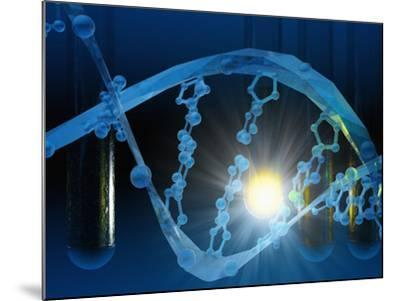 Biomedical Illustration of Stylized DNA in Blue with Test Tubes-Carol & Mike Werner-Mounted Photographic Print