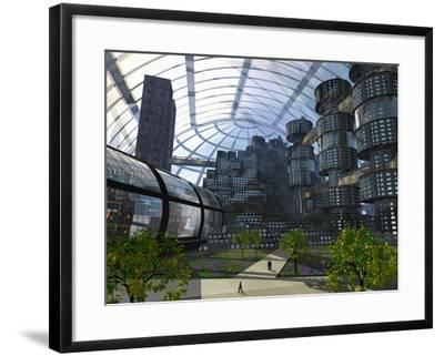 Illustration of an Enclosed City of the Future-Carol & Mike Werner-Framed Photographic Print