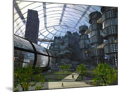 Illustration of an Enclosed City of the Future-Carol & Mike Werner-Mounted Photographic Print